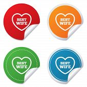 Best wife sign icon. Heart love symbol.