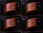 Box Of Chocolate Truffles, Close-up, Chocolate Gift. Various Chocolates As A Background
