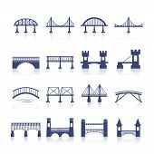stock photo of bridge  - Bridge architecture city landmark silhouette icon set isolated vector illustration - JPG