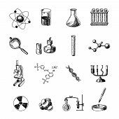 foto of retort  - Scientific chemistry laboratory equipment of retort glass holder dna symbols doodle sketch icons set isolated vector illustration - JPG