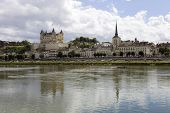 View of the city of Saumur and the Loire River, France