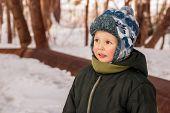 Little Boy Outdoors In Winter