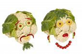 Creative Food. Portrait Two Old Man Made ??of Vegetables And Fruits