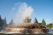 Stone Flower Fountain In Moscow.
