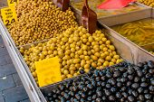 Assorted olives in market in Israel