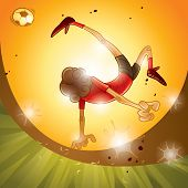 A soccer player performing bicycle kick, sunset scene.