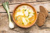 National Ukrainian Food. Soup With Galushky.