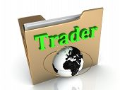 Trader Bright Green Letters On A Golden Folder