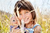 picture of tall grass  - Portrait of attractive beautiful young girl with children - JPG