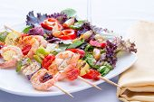 Shrimp Skewers With Fresh Mixed Salad