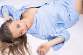 Nice Portrait Of Sensual Young Blond Woman In Blue Clothes