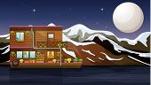 Illustration of a beautiful wooden boathouse