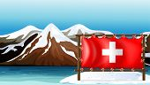 Illustration of the flag of Switzerland at the sea