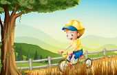 Illustration of a young boy playing with his bike