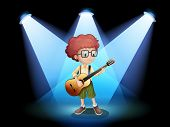 Illustration of a young guitarist at the center of the stage