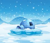 Illustration of an iceberg with an igloo