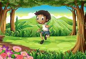 Illustration of an energetic young boy in the middle of the forest