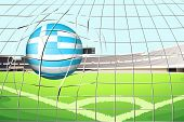 Illustration of a ball hitting the net with the flag of Greece