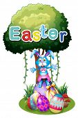Illustration of the easter eggs and a bunny under the tree on a white background