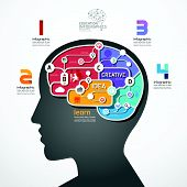 Infographic Template Brain Social Line Link Concept Vector Illustration
