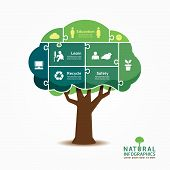 Infographic Green Tree Jigsaw Banner.environment Concept Vector Illustration.
