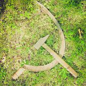 pic of communist symbol  - Vintage retro looking Communist CCCP Flag with hammer and sickle symbols of communism yellow over red - JPG