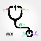Infographics Vector Medical Design Stethoscope Diagram Line Style Template