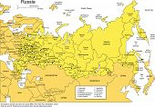 Russia with Administrative Districts and Surrounding Countries