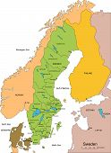 Sweden with Administrative Districts and Surrounding Countries