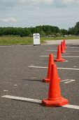 parking spaces blocked by traffic cones