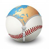 Planet Earth inside baseball ball