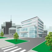 Hospital Building On City Background In Perspective