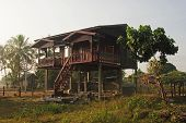 House On Stilts In Laos