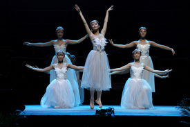 stock photo of ballet dancer  - a group of chinese ballet dancers performing on stage - JPG