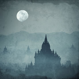 picture of moon silhouette  - Amazing castle silhouette under moon at mysterious night - JPG