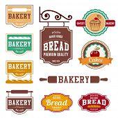 Bakery Vintage labels such as logo design vector templates. Fresh Bread shop creative retro concept icons.