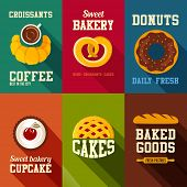 Bakery sweets retro style banners vector design templates set.  Coffee shop, Donut, Cupcake, Cake, Bread icons collection.