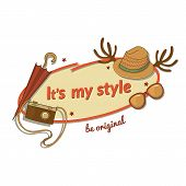 Hipster woman stylish vector label with contemporary touches and an inscription
