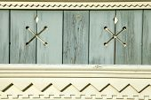Old Wooden Painted Light Blue Rustic Background With Carved Elements