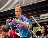 Elaborately Dressed Participant, Dancing During Christopher Street Day Parade