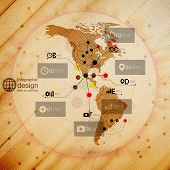 North and South America map, infographic design illustration, wooden background vector