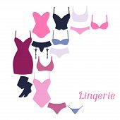 pic of panty-tights  - Fashion lingerie background design with female underwear - JPG