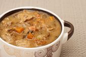 Stew With Dried Mushrooms In A Pot.