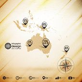 Australia map, wooden design background, infographics vector illustration