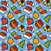 Christmas decorations seamless pattern.