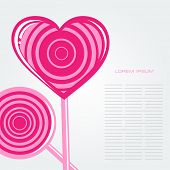 Vector card with lollipop and candy in heart  shape. Decorative background for print, web, banner or flyer