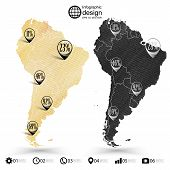 South America map, wooden design texture, infographics vector illustration