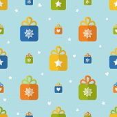 Flat Seamless Pattern With Presents