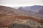 image of arctic landscape  - Arctic landscape in Greenland with mountains and brown vegetation in autumn  - JPG