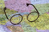 Glasses on a map of europe - Hungary